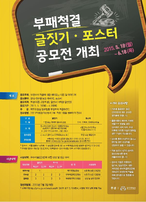 청소년 부패척결 글짓기 / 포스터 공모전