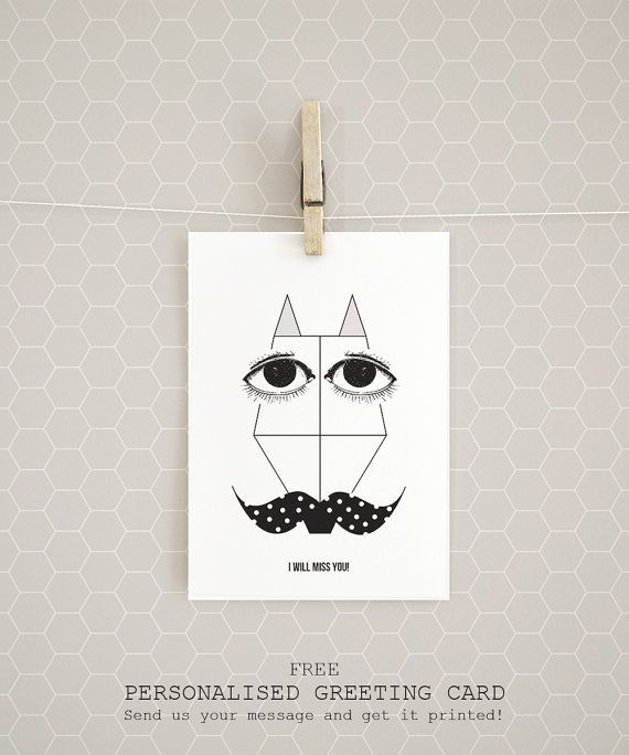 "A personalised greeting card! Get it free with every organic Cotton t-shirt ""A Fox with a polka dot moustache"" by Rooftop. #EtsyGifts #etsy #artprints #posters #homedecor #wallart #decoration #etsygreekstreetteam"