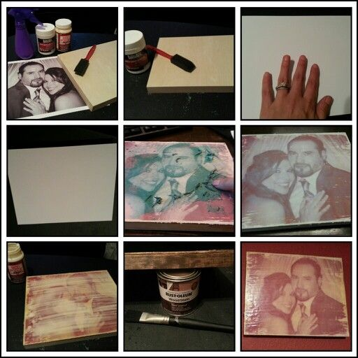 DIY PICTURE TRANSFER TO WOOD!  EXTREMELY EASY!!      SUPPLIES (i purchased every thing at Hobby Lobby):  1. Wood frame (art department next to canvases) 2. Liquitex gel medium matte super heavy duty (art department) 3. Mod Podge (craft department next to glue) 4. Foam or regular brush 5. Spray water bottle  6. Xerox copy of picture don't forget to MIRROR image 7. Wood stain (optional)  STEPS:  1. Spread an even layer of liquitex on  to wood 2. Place picture image side down on to wood 3…