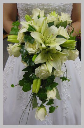wedding bouquets green gold white cascading - Bing Images