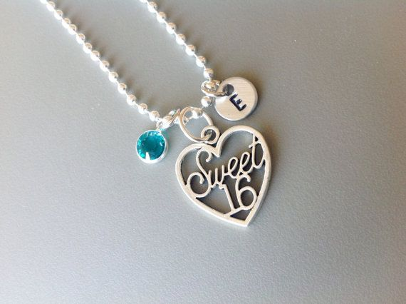 Happy Birthday Necklace Sweet 12th 16th 18th Birthday Gift Jewlery with Turquoise Bead mCPh04rw4