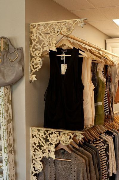Cute idea to finish those ugly builder grade closet racksClothing boutique display ideas - Add unique vintage touches to boring clothing rack displays. Boutique ideas, tips and tricks.