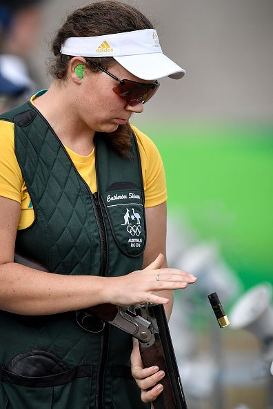 Gold medal winner Australia's Catherine Skinner competes in the women's trap event at the Rio 2016 Olympic Games at the Olympic Shooting…