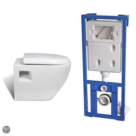 vidaXL Toiletset Wandtoilet design wit + inbouwreservoir 160755