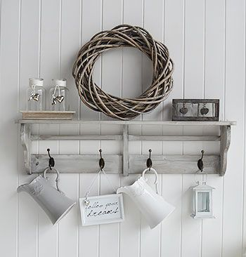 Parisian Shelf with willow wreath, grey and white vases and candle holders