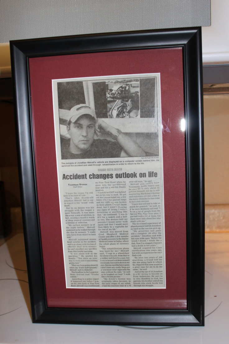 Jonathan's wreck newspaper article matted and framed | She ...
