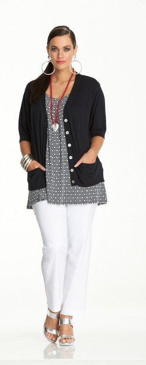 A beautiful casual outfit idea. Like this one? Shop similar items at http://mandysheaven.co.uk/ - Plus Size Womens Fashion UK - English Fashion.  The earrings are too much, but otherwise, I like it.