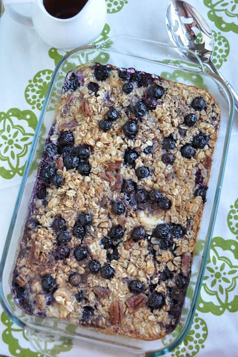 Baked Banana & Blueberry Oatmeal. Make on Sunday and eat some for breakfast all week. Nutritious and filling.