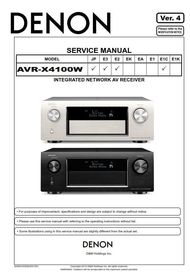 Denon AVR-X4100W AV Receiver Service Manual in 2019 | Denon