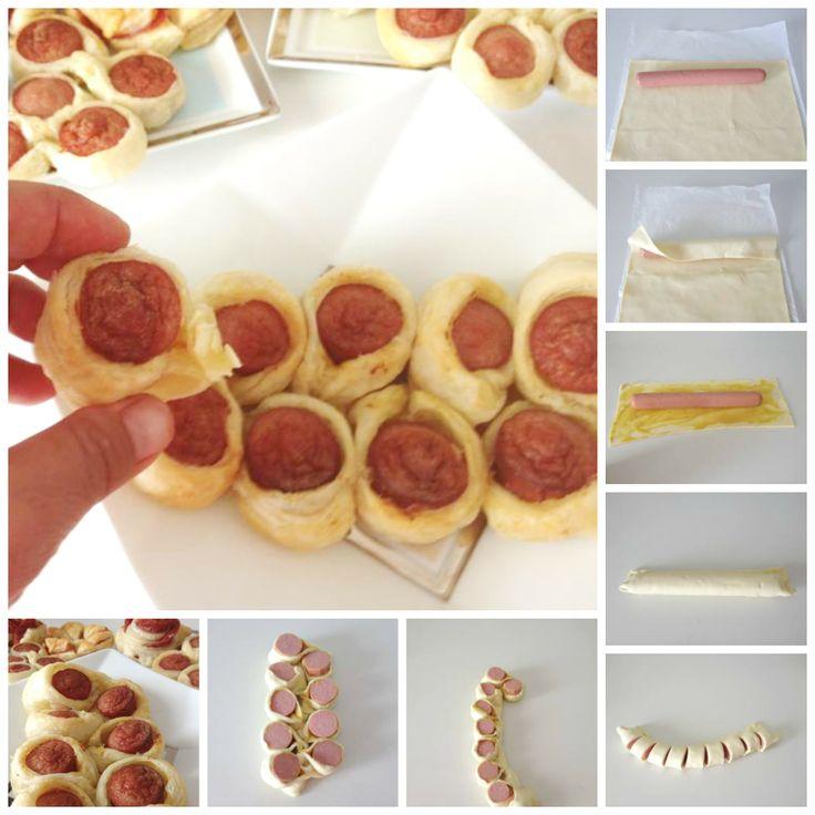 Grappolo di pasta sfoglia e wurstel. Puff pastry bunch and sausage.
