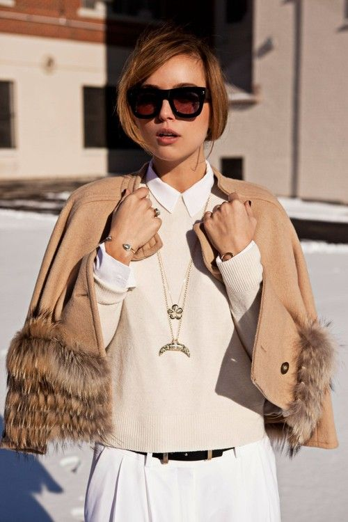 The Glamourai's Kelly Framel is Chalet Chic in Lanvin for H sunnies, Timo Weiland jacket, Phillips House jewelry, Equipment shirt, Joe Fresh sweater + belt, Celine pants, and Alexander Wang shoes.  Source:  pretaportre