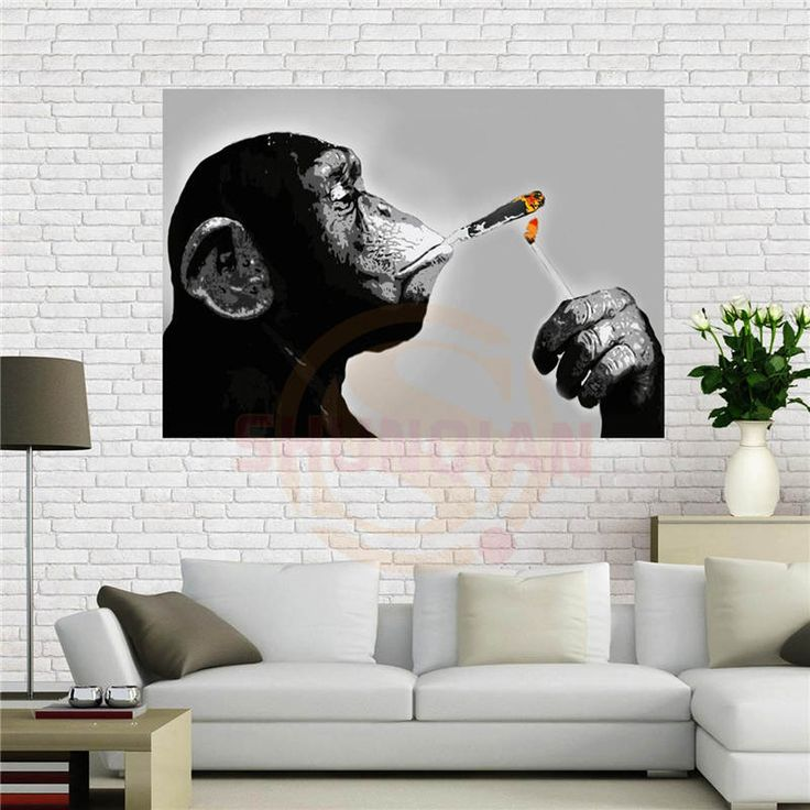 Custom canvas poster steez monkey smoking poster 40x60 cm home decoration cloth fabric wall poster print