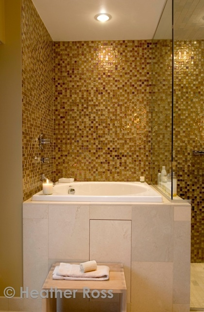 stunning gold tiled bathroom by Celine Pitre ~ photo Heather Ross