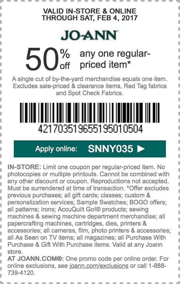 50% off any one regular-priced item. APPLY ONLINE: SNNY035.