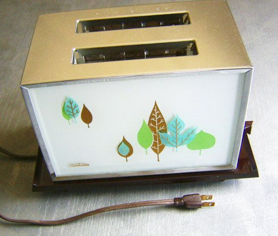 1960s Toaster With Bread ~ Vintage toaster painted glass leaf design sunbeam