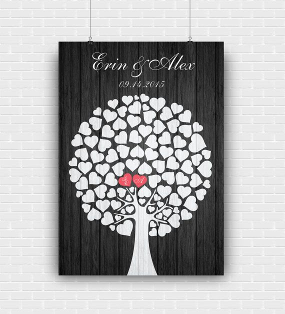 Personalized wedding guest book poster for wall by GraphicCorner