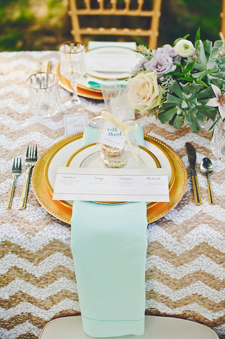 Wedding Table Setting Ideas calabasas wedding by marianne wilson Gold And Mint Table Setting