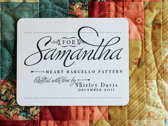 For Her Personalized Quilt Label By Shannahjsmith On Etsy