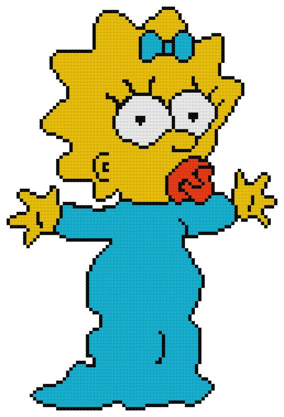 Counted Cross Stitch Pattern Maggie Simpson from by DreamyMemories, $4.25
