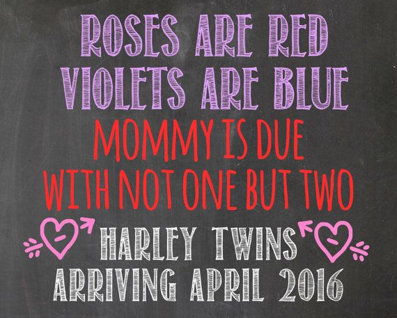 Twins pregnancy announcement  sign  chalkboard   by tinyfirststeps