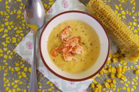 Maissoep met rivierkreeftjes