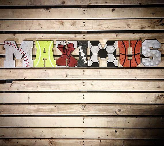 Sports Baby Boy Nursery Ideas: Sports' Themed Letters-Nursery Decor-Hanging Letters-Wall