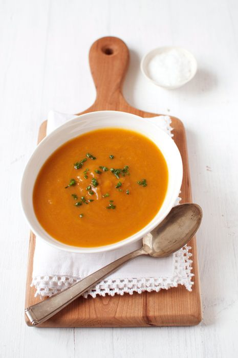 Roast Pumpkin & Sweet Potato Soup. Recipe by Nigella Lawson