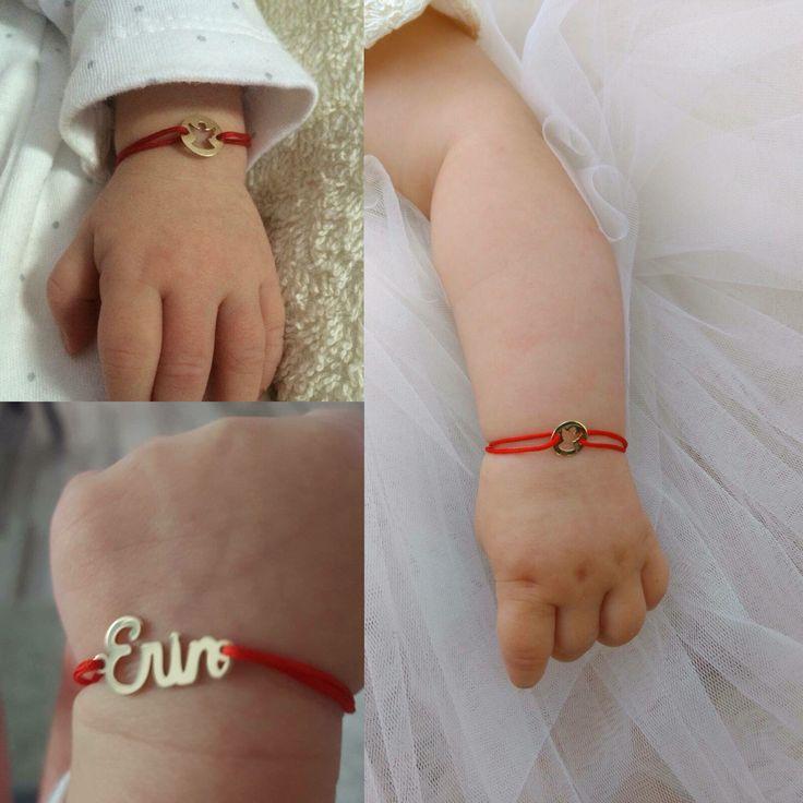Babies wearing our jewelry.   Lovebird bijuterii. Golden angel, baby angel, red string jewelry, jewelry on cord, lucky charms, personalized jewelry, bratari, bijuterii personalizate