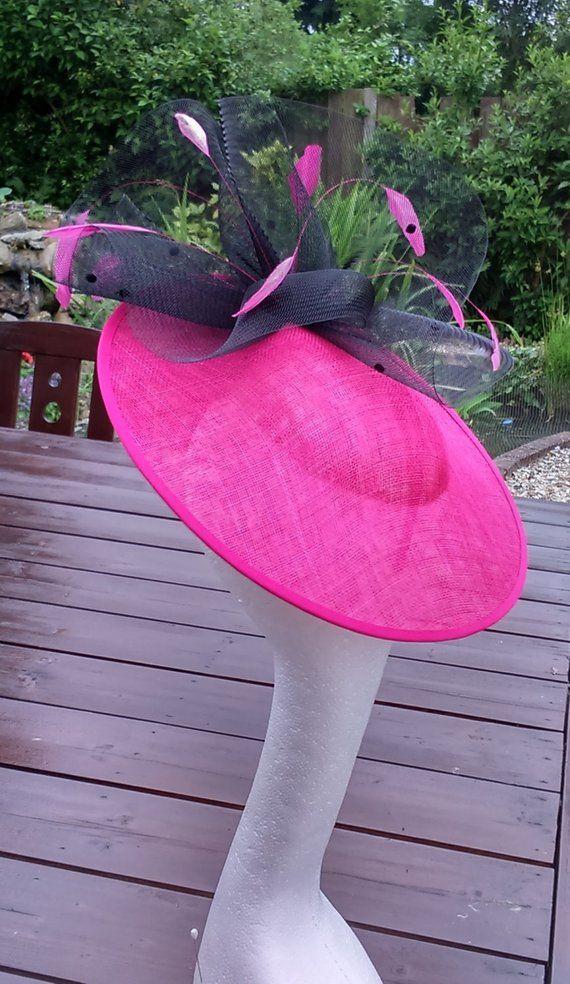7b69a2a65ff62 Cerise Fuchsia Pink Black Fascinator Side Disc Hatinator Pink Wedding Hats