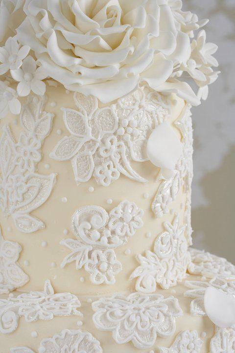 Antique lace wedding cake.