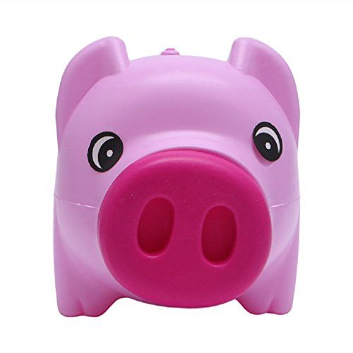 SCASTOE Plastic Piggy Bank Coin Money Cash Collectible Saving Box Pig Toy Kids Gift Hot pink