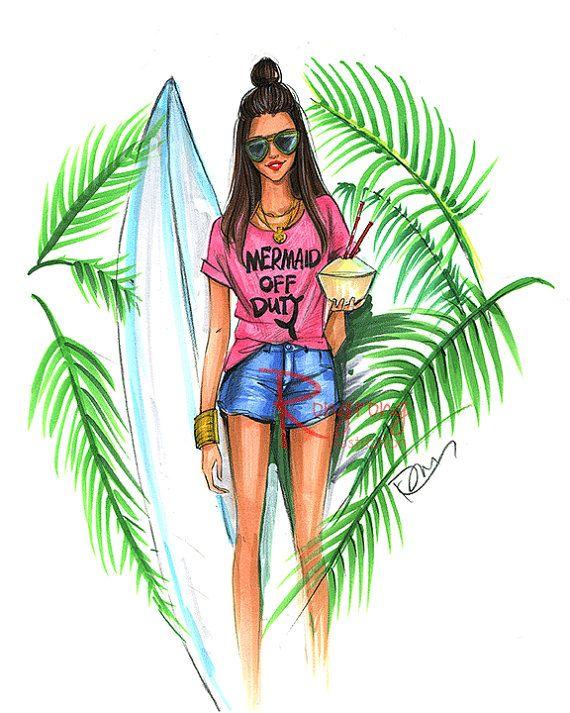 Ilustración de sirena arte Surfer arte de la pared de moda