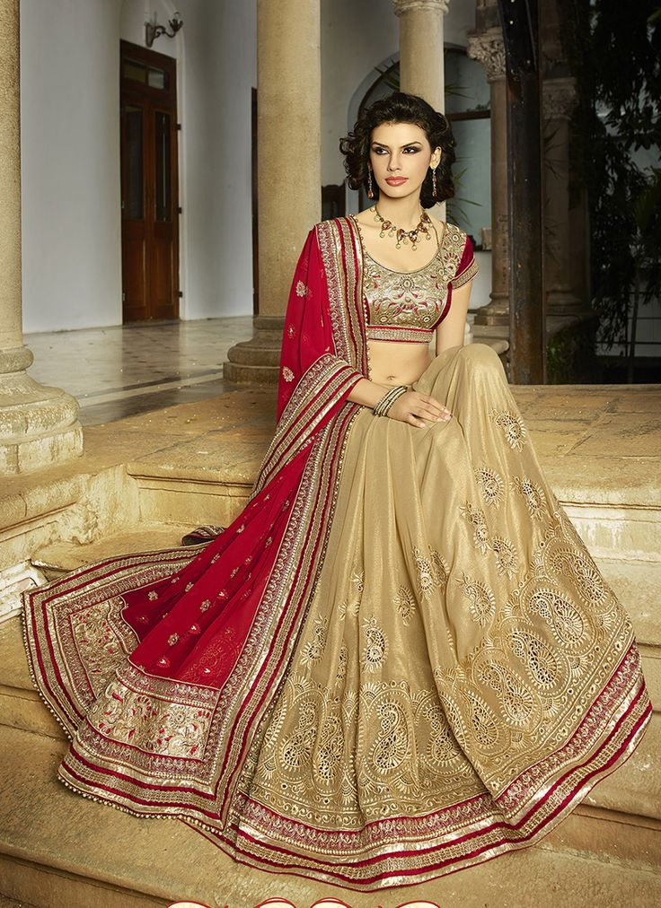 #Beige & #Red Colour #Net & #Georgette #Saree. Lovely #floral #embroidery and #exotic #colours come together to define this #beautiful #saree.  Contact to Buy : +91-9377111620
