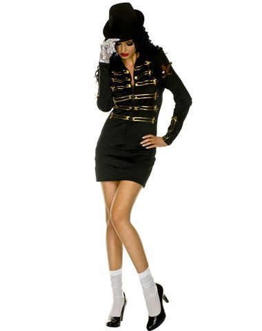 "Women's - 80's Pop Star Costume - Be The Female Version Of Michael Jackson!  ""Celebrate the 80s in this cute 80s Pop Star adult women's costume and show off your killer moves. Dance through the party in the black and gold military jacket-style dress, complete with white socks, one silver sequin glove and a matching black hat."""