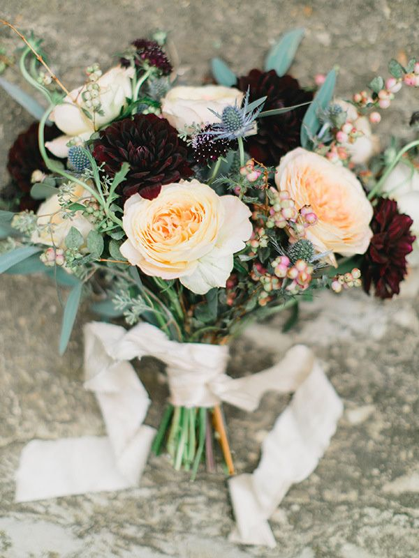 Elegant Peach and Burgundy Bridal Bouquet | Rachel May Photography and Amore Events by Cody | Garnet and Rose Gold - An Enchanted Garden Wedding Editorial - http://heyweddinglady.com/garnet-and-rose-gold-an-enchanted-garden-wedding-editorial/