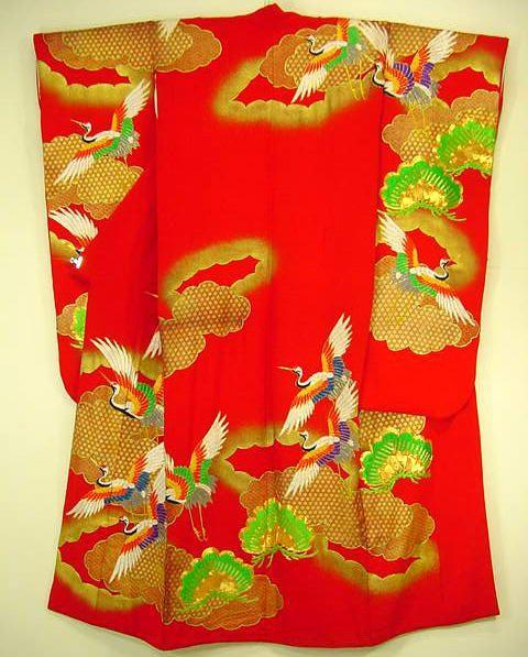 Свадебное фурисоде (какешита) с журавлями  шелковое полотно, роспись юдзен, золочение. 1970 гг