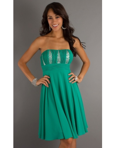 Cute Beading Pleats Strapless Empire Knee-length Chiffon Green Short Formal Dress Sale Online - DRESSESMALL