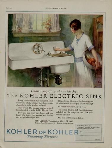 1927 Kohler Plumbing Ad Crowning Glory In The Kitchen