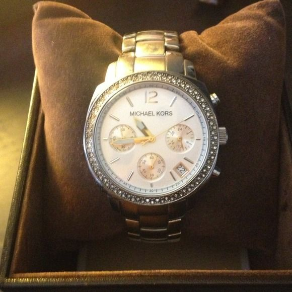 Michael Kors Silver with cz face watch Barely worn Michael Kors silver watch with CZ lined face. MICHAEL Michael Kors Accessories Watches