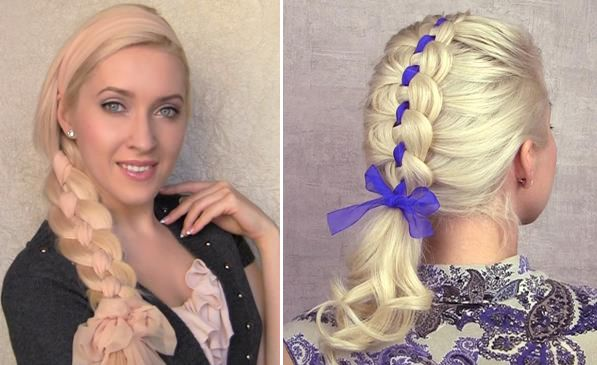 4 Strand Braid Tutorials: Side Four Strand Braid and Ribbon Four Strand Braid - Fashion Trends, Makeup Tutorials, Hairstyles and Style Secrets