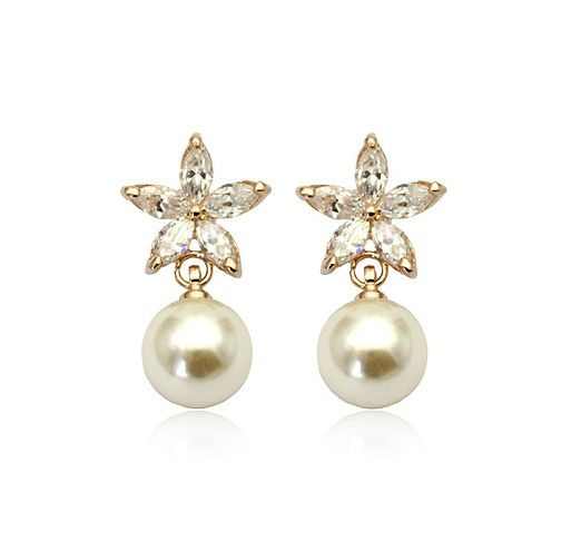 Pearl and crystal flowers 18k rose gold-plated pierced earrings
