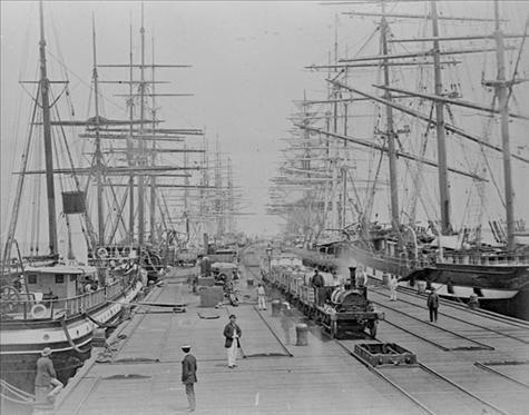 Sailing ships at Sandridge Pier (Port Melbourne) Railway Pier, circa 1880.