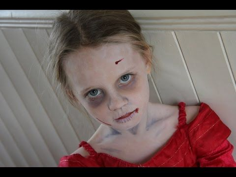 Halloween makeup for Kids - zombie makeup for Celeste aged 5.