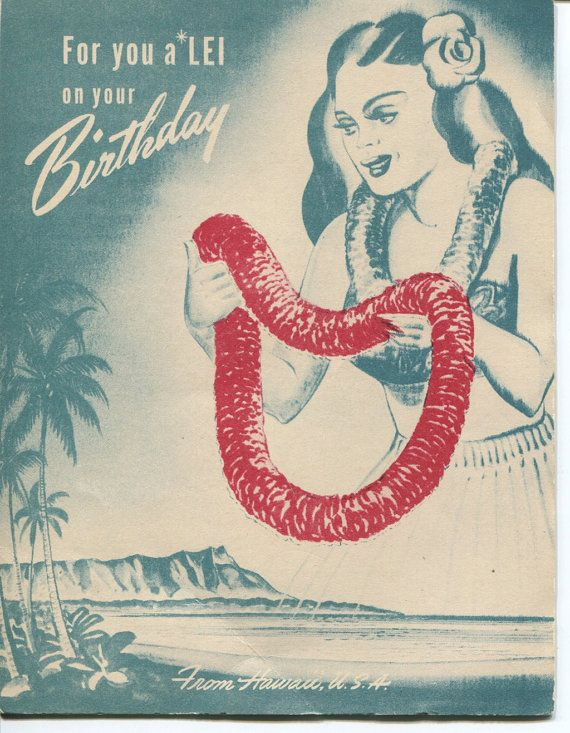 RARE VINTAGE HAWAIIAN Original Hawaiian Lei Birthday Card circa 1930s
