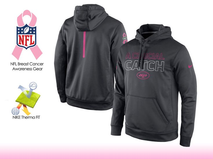 940dfaa05 ... Nike New York Jets Charcoal Breast Cancer Awareness KO Pullover  Performance Hoodie ...