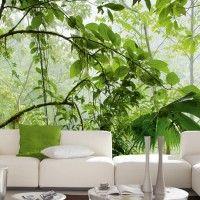 Dit prachtig schouwspel van licht en kleuren binnen een jungle van bladeren en bomen, laat u wegdromen bij de pracht van de natuur. Dit unieke schouwspel geeft een extra dimensie aan uw ruimte. Formaat 2,54 x 3,66meter.