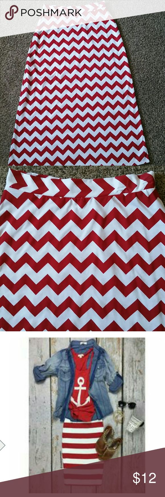 Chevron maxi skirt Red and white chevron maxi skirt.Looks brand new.Very adorable! ( 2nd pic is for ideas only ) Skirts Maxi