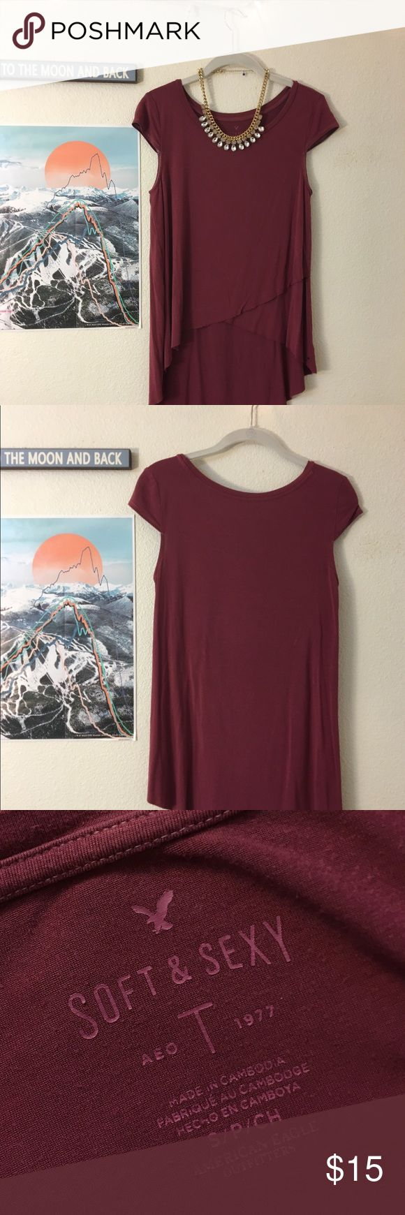 Soft and sexy AE top Lightly worn, great quality. Soft and sexy American Eagle Material.  Maroon/burgundy color American Eagle Outfitters Tops Tees - Short Sleeve