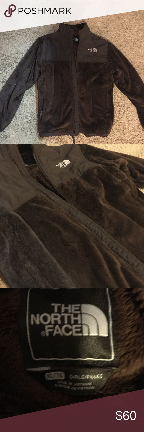"""North Face Zip Up Jacket Brown fleece, like new. Only worn a few times! Super soft and warm!  It's a child XL but will fit an petite adult! I'm 5'4"""", 120 lbs and it fits perfectly! North Face Jackets & Coats"""