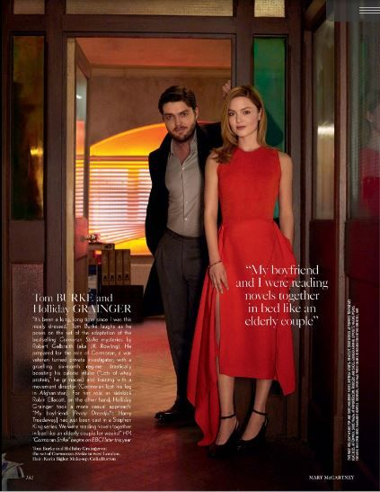 Tom Burke and Holliday Grainger for British Vogue, May 2017, taliking about the upcoming series Cormoran Stryke, BBC.   Credits: Vogue.co.uk